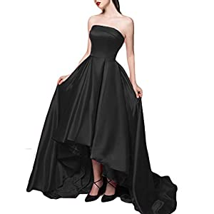 Scarisee Women s 2019 A-line Strapless High Low Evening Dresses with Pockets  Prom Cocktail Party Gowns Black 06 cd92ad074