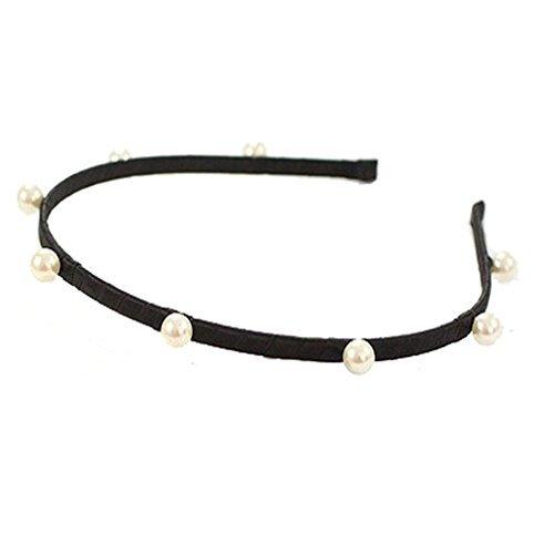 (Yeefant Simple Finishing Touch Classic Wild Hand Wrap Pearl Hair Hoop Tassels Ribbon Headdress for Women Girl, Black)