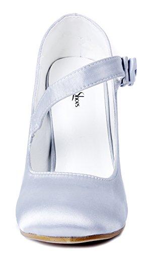 Raso Zapatos Stiletto Ageemi Hebillas Shoes Tacón Boda Mujer Fiesta Plateado 7OaaqfwF4