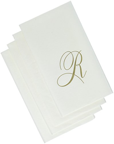 Entertaining with Caspari White Pearl Paper Linen Guest Towels, Monogram Initial R, Pack of 24