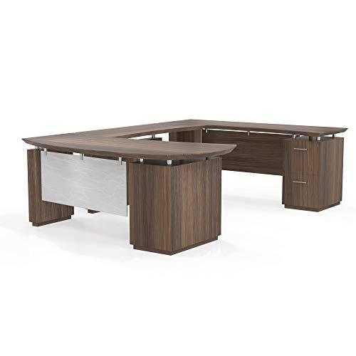Mayline Sterling Series U Shaped Left Handed Desk System with Bridge Credenza Box/Box/File and File/File Pedestal,