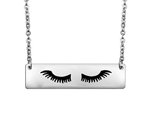 bobauna Eyelashes Necklace MUA Necklace Make Up Artist Jewelry Makeup Addict Gift Art Student Graduation Gift (Eyelashes Necklace)