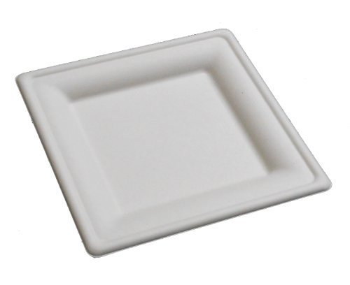 P035 50 pieces e mold square plate 20cm stylish square plate eco durable disposable (japan import)