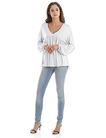 H2H Women Slimming V-neck Short Batwing Sleeve Smocked Empire Waist Tunic Top WHITE US M/Asia M - Smocked Waist Silk Blouse
