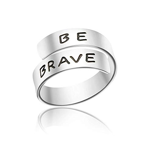 Sisters Engraved Message Ring - HIIXHC Inspirational Gifts Women Cuff Bracelet Bangle Stainless Steel EngravedJewelry Gifts with Sayings & Words for Women, Teen Girls (Be Brave Ring)