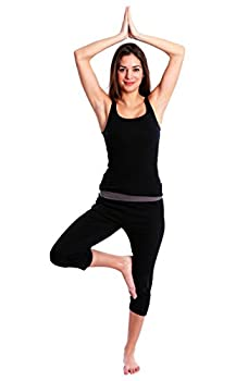 Nouveau Women's Workout Active Capri Yoga Pant With Contrasting Color Waistband Casual Loungewear - Black W. Charcoal, Xx-large 3
