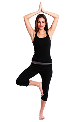 Waist Maternity Crop Pants - Nouveau Women's Workout Active Capri Yoga Pant with Contrasting Color Waistband Casual Loungewear - Black W. Charcoal, Medium