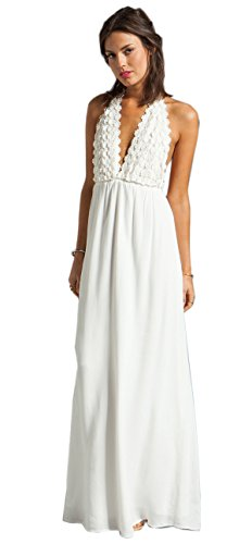 Dress Empire Trendy Lacework Chiffon Draping Halterneck Maxi Hollow Womens wfTqU86