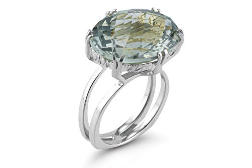 I REISS 14K White Gold 4.75ct TGW Green Amethyst Ring