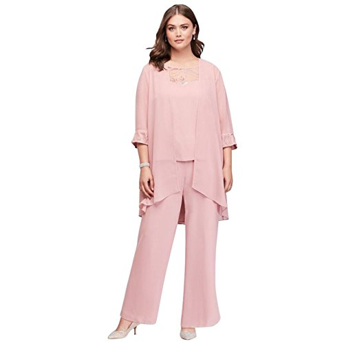 Lace-Detailed Georgette Plus Size Pantsuit Style 27335, Dusty Rose, 16W