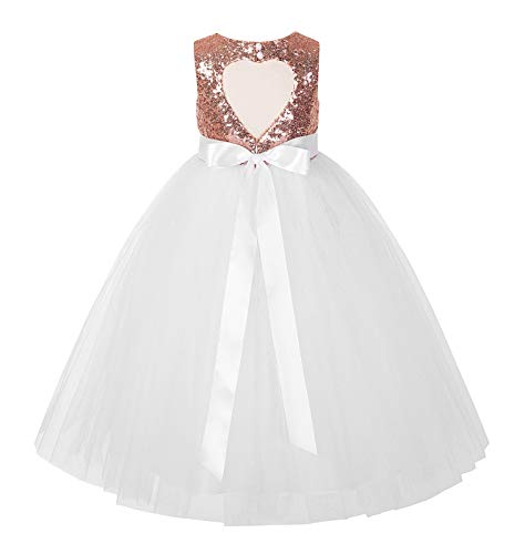 796c026bf34 ekidsbridal Heart Cutout Sequin Junior Flower Girl Dress First Communion  Dresses 172seq 2 Rose Gold