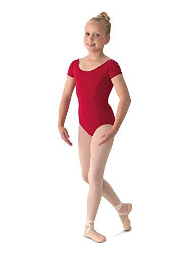 Mirella Girl's Princess Seam Cap Sleeve Dance Leotard Garnet 8-10 ()