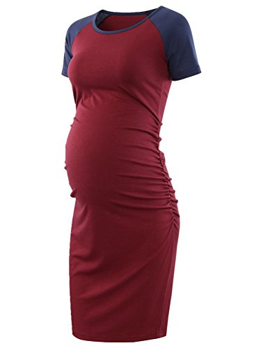BBHoping Womens Baseball Raglan Short Sleeve Maternity Dress Bodycon Dress Pregnancy Clothes