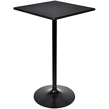 Costway High Table Square Pub Bar Table Black Mdf Top With Black Leg And  Base