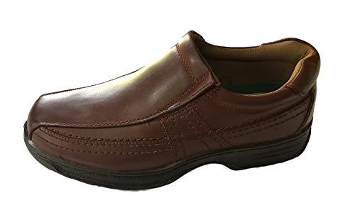 Con Ligero Cin o Cordones Cuero sin Cordones Cómodos Hombres Velcro Cordones de Marrón Zapatos Forrado de wXFqzRz0