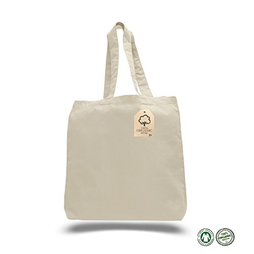 Organic Tote Bags (12 PACK) - Natural Cotton Canvas Tote Bags Reusable 100 Percent Cotton Perfect For Grocery Shopping, Craft Projects - Eco-Friendly, Organic Reusable Bags in Bulk with Bottom - Ny White Plains Shopping