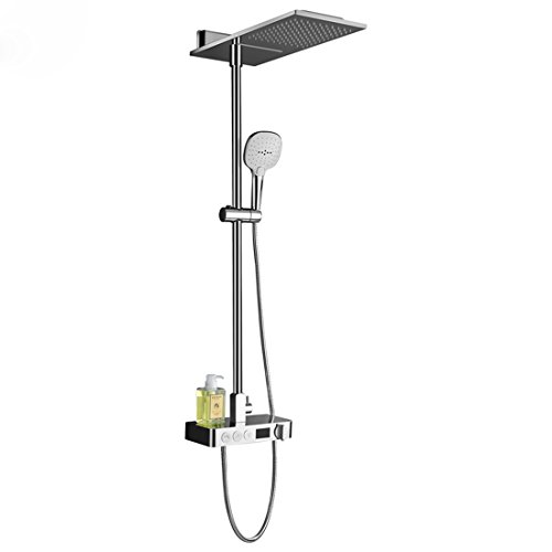 Digital Thermostatic Shower Set Button Mixing Valve With Display Bathroom Multifunction Waterfall & Rainfall Shower System -