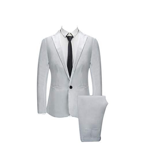 TIANMI Men's 2&3 Pieces Suit Men's Slim Button Suit,Wedding Pure Color Business Blazer Host Show Jacket Vest & Pants White ()