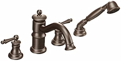 Moen Ts213Orb Waterhill Two-Handle High Arc Roman Tub Faucet Includes Hand Shower, Oil Rubbed Bronze