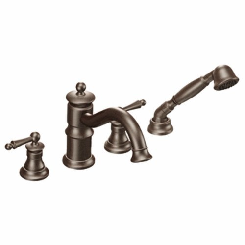 Moen Ts213Orb Waterhill Two-Handle High Arc Roman Tub Faucet Includes Hand Shower, Oil Rubbed (Waterhill Nickel Two Handle)