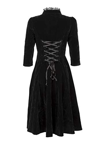 and High Velvet Womens Dress Gloria with Lace Gothic Collar Details Black Glam fdHAqwA
