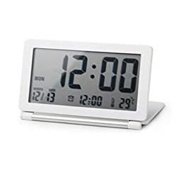 GenLed Multifunction Silent LCD Digital Large Screen Travel Desk Electronic Alarm Clock, Date/Time/Calendar/Temperature Display, Snooze, Folding (White)