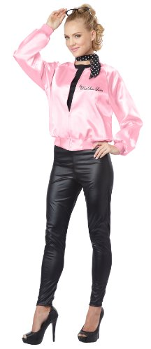 Ladies Womens Grease Pink Costume Jacket (California Costumes Women's The Pink Satin Ladies Adult, Pink,)