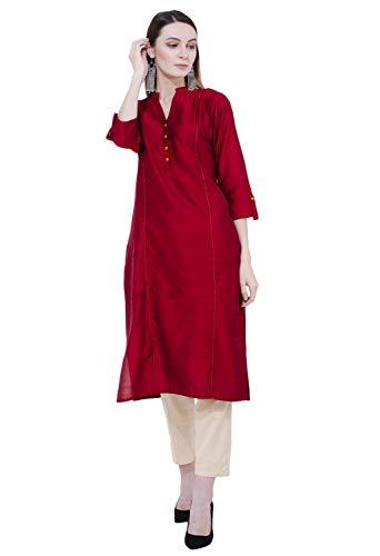 "Printed Silk Tunic - Lagi Designer Polly Silk Straight Kurti for Women Printed Tunic Top Mandarin Collar ¾ th Sleeve Dress"" (2XL-46)"