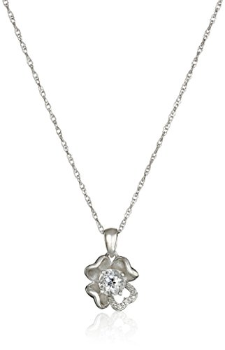 Sterling Silver White-Topaz and Diamond Accent Flower Pendant Necklace, 18