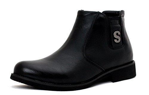 hombre nuevo Moda Botines Chelsea Casual Zapatos De Diseño Inteligentes Sin Cierres UK Size Negro