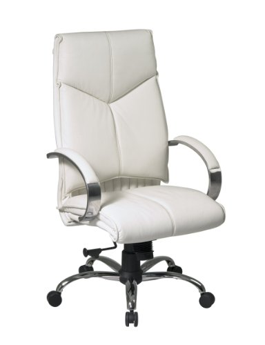 Office Star Deluxe High Back Executive Leather Chair with Chrome Base and Padded Loop Arms, (Loop White High Chair)