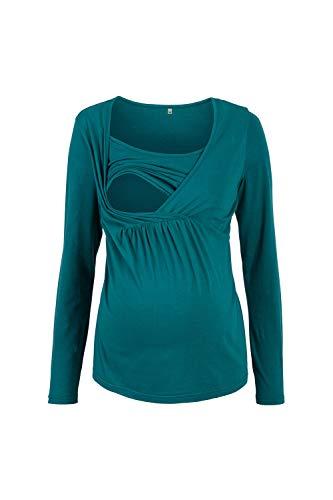 Vosujotis Lunghe A Le di Maniche La Abbigliamento Donne Camicia Taglia Solido Green rxr8w7qf