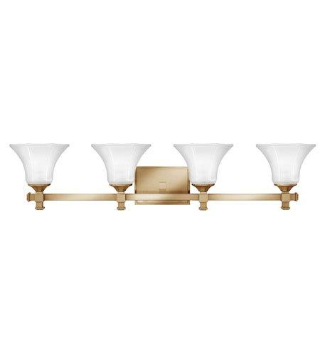 - Hinkley 5854BC, Abbie Reversible Glass Wall Vanity Lighting, 4 Light, 400 Watts, Brushed Caramel