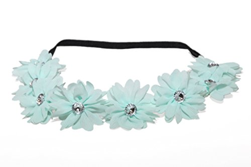Price comparison product image Lux Fabric Flower Crown Rhinestone Stretch Headband Chiffon Floral Head Band