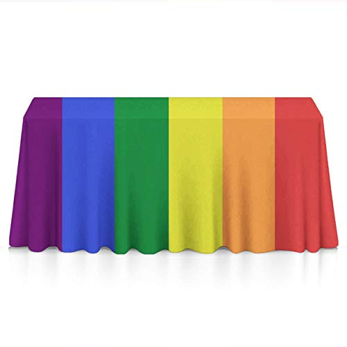 (Rectangle Tablecloth - 60x120 Inch - LGBT Pride Rainbow Flag Rectangular Table Cloth in Washable Polyester - Great for Buffet Table, Parties, Holiday Dinner, Wedding & More)
