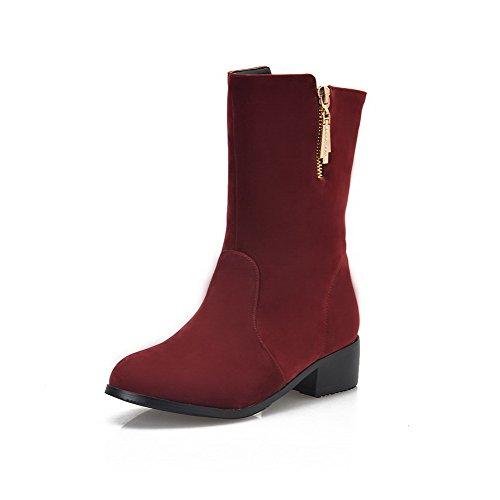 VogueZone009 Damen Rein Blend-Materialien Niedriger Absatz Reißverschluss Rund Zehe Stiefel Rot