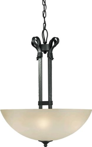 Forte Lighting 2396-04-11 Transitional 4-Light Pendant with Shaded Umber Glass, Natural Iron ()