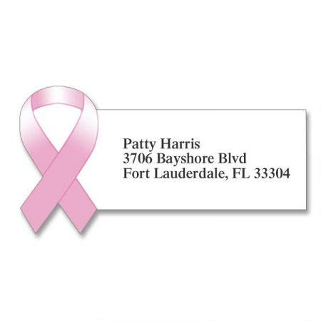 Pink Ribbon Diecut Return Address Labels- Set of 144 Large Self-Adhesive, Flat-Sheet Labels, By Colorful Images]()