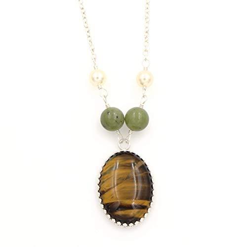 Tiger Eye Serpentine(Green Jade) Gemstone Pendant Necklace - Swarovski Pearls, Silver 1.25 & ()