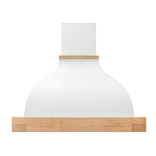 Futuro Futuro Wall-mount Vermont 36 Inch Kitchen Range Hood - Classic Retro Italian Design - White Steel & Wood Unstained Ultra-Quiet with Blower (Wood Blower Hood)