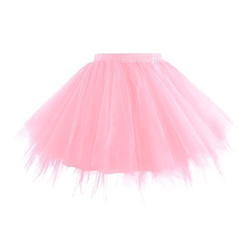 (Hanpceirs Women 1950s Short Vintage Tulle Petticoat Skirt Ballet Bubble Tutu Pink XL)