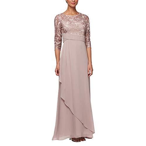 Alex Evenings Women's Long Lace Top Empire Waist Dress, Petite Rose, 14P