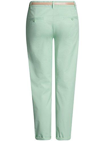 oodji Ultra Mujer Pantalones Chinos con Cinturón Verde (6500N)