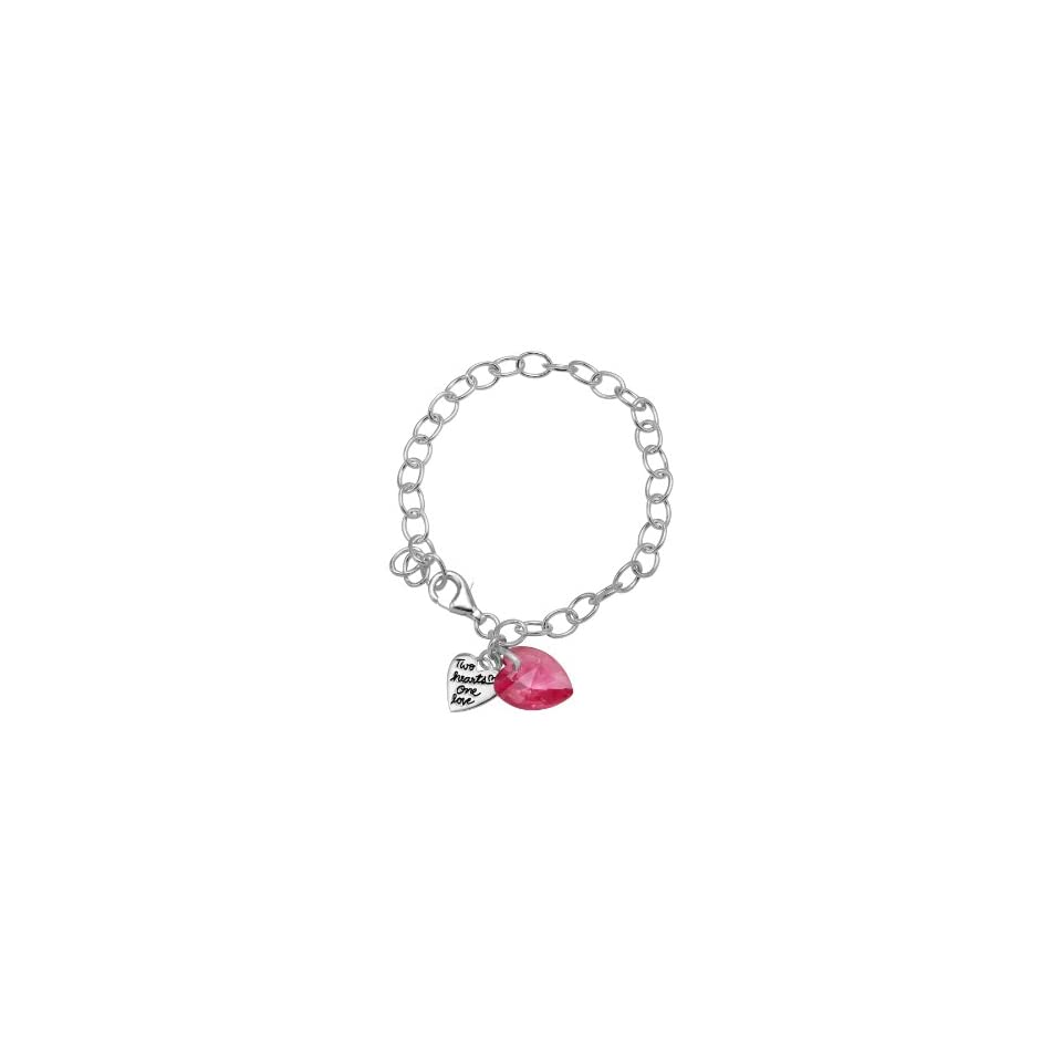 Sterling Silver Swarovski Heart and Two Hearts One Love Charm Bracelet