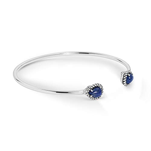 American West Sterling Silver & Blue Lapis Lazuli Gemstone Slender Adjustable Cuff Bracelet with 1/4