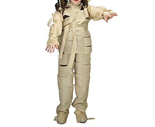 Kids Scary Mummification Zombie Corpse Role Play Outfits for Halloween Masquerade Party for Kid,Ye 053,L -