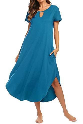Bloggerlove Loungewear Womens Nightgown Cotton Knit Short Sleeve Sleepwear Long Nightshirt Dresses Blue