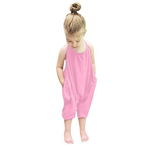 Darkyazi Baby Summer Jumpsuits for Girls Kids Cute Backless Harem Strap Romper Jumpsuit Toddler Pants Size 2-8Y (4T, Pink)]()