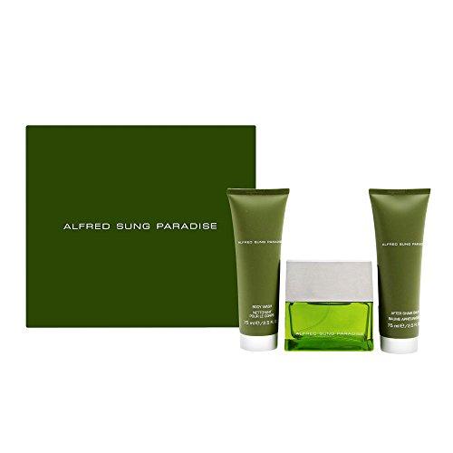 Paradise by Alfred Sung for Men 3 Piece Set Includes: 1.7 oz Eau de Toilette Spray + 2.5 oz After Shave Balm + 2.5 oz Body Wash