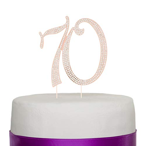 Ella Celebration 70 Cake Topper for 70th Birthday or Anniversary - Silver Rhinestone Metal Number Party Decoration (Rose Gold) -
